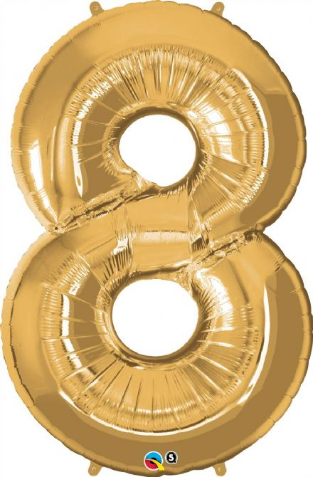 Number 8 Gold Super Shape Number Foil Balloon